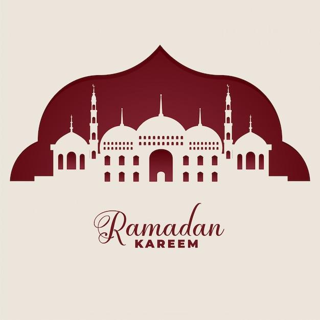 Meczet Sylwetki Ramadan Kareem Tło Islamskie Darmowych Wektorów