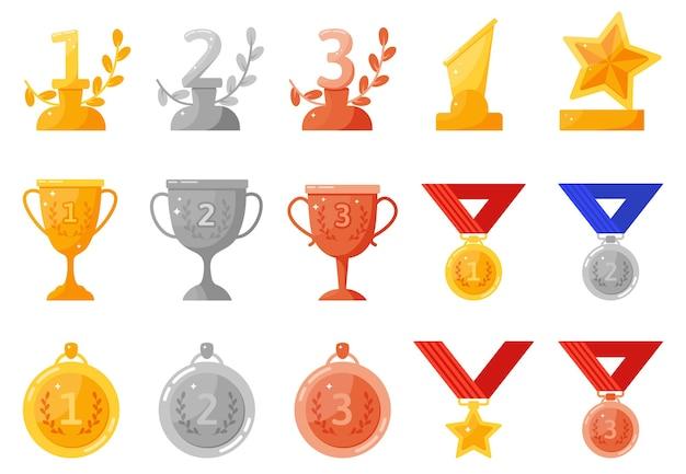 Medale I Puchary Za Trofea. Premium Wektorów
