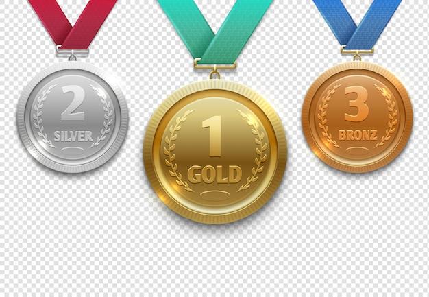Medale olimpijskie złote, srebrne i brązowe, nagroda dla zwycięzcy Premium Wektorów