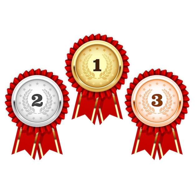 Medale Srebrne, Brązowe I Złote - Rozeta Nagrody Premium Wektorów