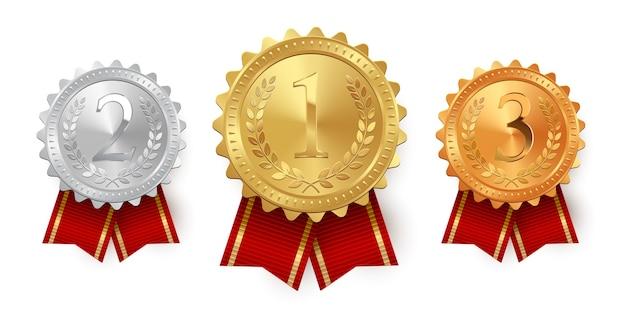 Medale Z Czerwonymi Wstążkami Na Białym Tle Premium Wektorów