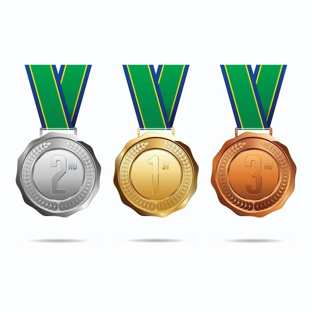 Medale Z Ilustracją Wstążki Premium Wektorów