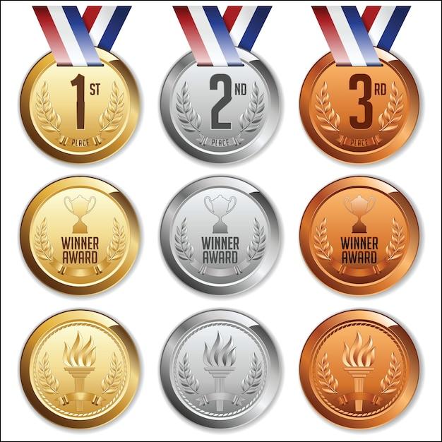 Medale Ze Wstążką. Zestaw Złotych, Srebrnych I Brązowych Medali. Premium Wektorów