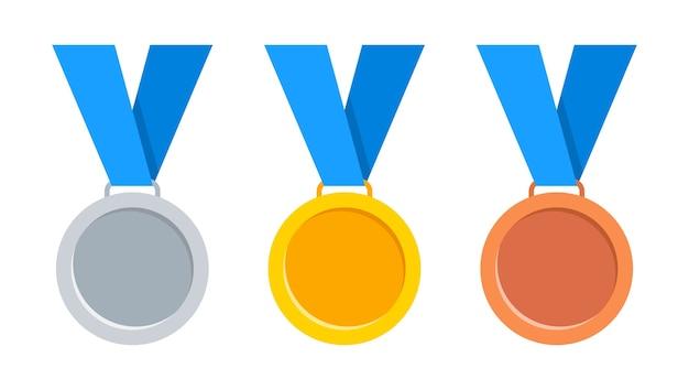 Medale Złote, Srebrne I Brązowe Z Niebieską Wstążką. Premium Wektorów