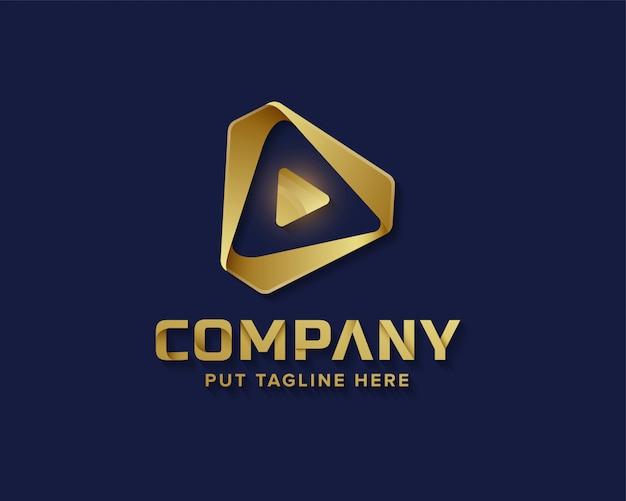 Media odtwarzają złote logo Premium Wektorów