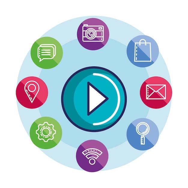 Media społecznościowe odtwarzać wideo multimedialny przycisk internetowych Premium Wektorów