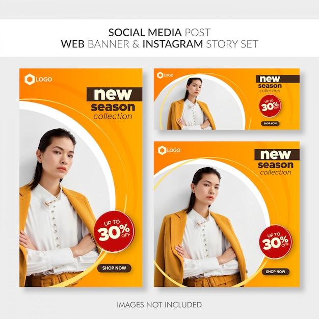 Media społecznościowe publikują baner internetowy i zestaw historii na instagramie Premium Wektorów
