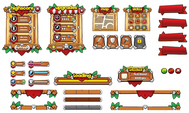Medieval Game Gui Premium Wektorów