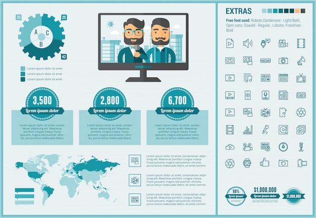 Mediów płaski projekt infographic szablon i ikony ustawiać Premium Wektorów