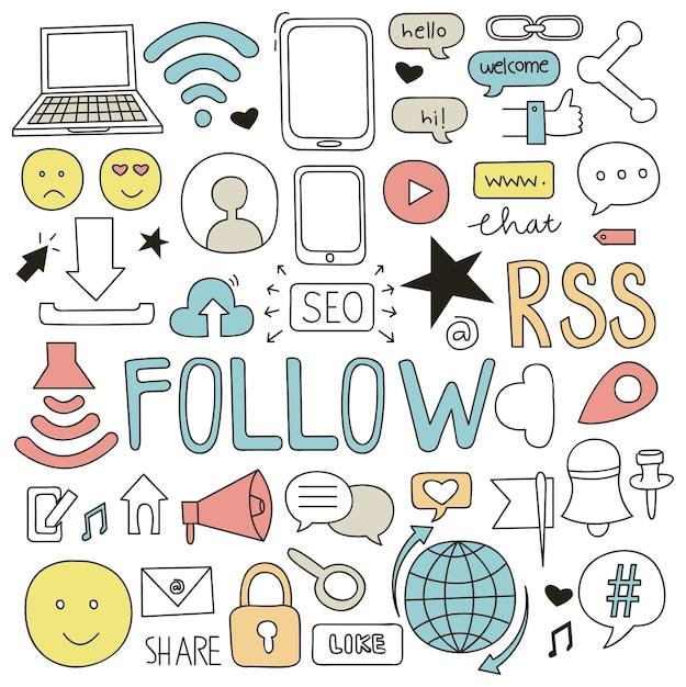 Mediów społecznych doodle ilustracji wektorowych Premium Wektorów