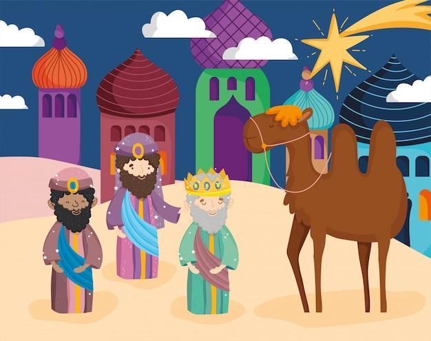 Mędrcy Z Wielbłądem W Mieście Premium Wektorów