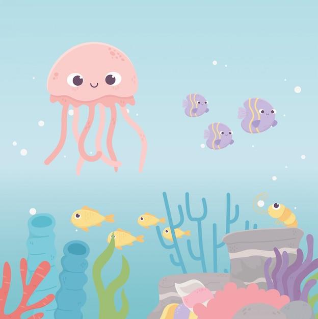 Meduza Krewetki Ryby życie Rafa Koralowa Kreskówka Pod Morzem Premium Wektorów