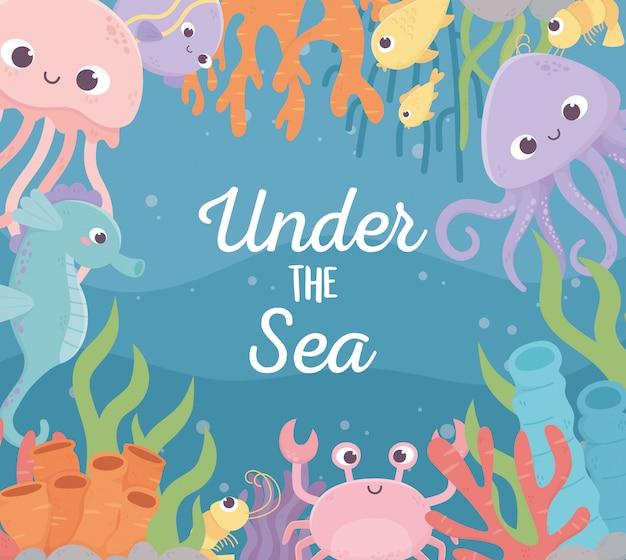 Meduza Ośmiornica Ryby Krewetki Krab życie Rafa Koralowa Kreskówka Pod Morzem Premium Wektorów