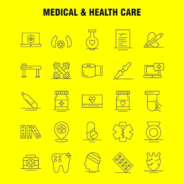 Medycyna I Opieka Zdrowotna Linia Ikona: Medycyna, Medycyna, Tablet, Szpital, środek, Medyczne, Urządzenia Medyczne, Piktogram Paczka Premium Wektorów