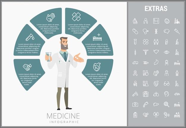 Medycyna Infographic Szablon, Elementy I Ikony Premium Wektorów