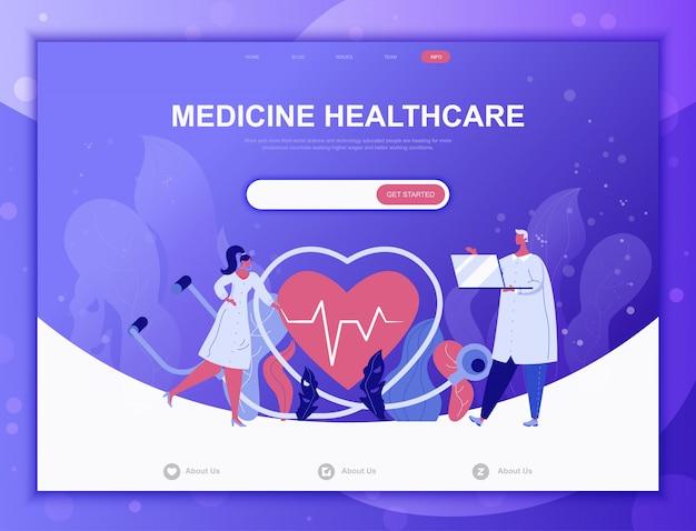 Medycyna Online Płaski Koncepcja, Szablon Strony Docelowej Strony Internetowej Premium Wektorów
