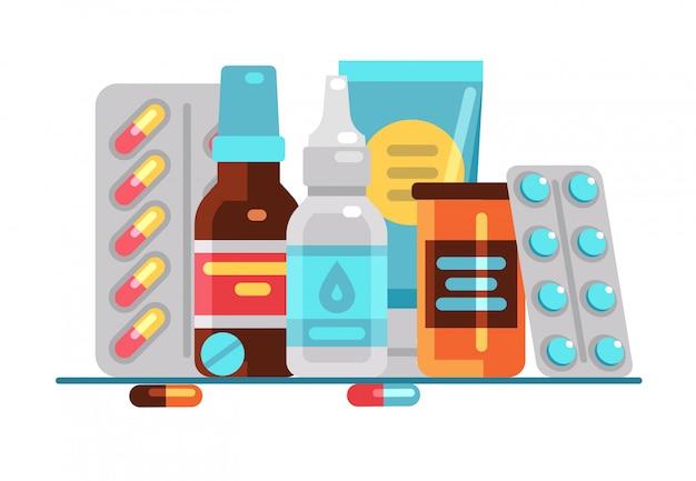 Medyczne pigułki i butelki Premium Wektorów
