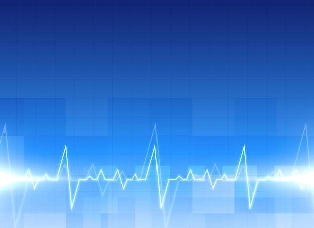 Medyczne Tło Elektrokardiogram W Kolorze Niebieskim Darmowych Wektorów