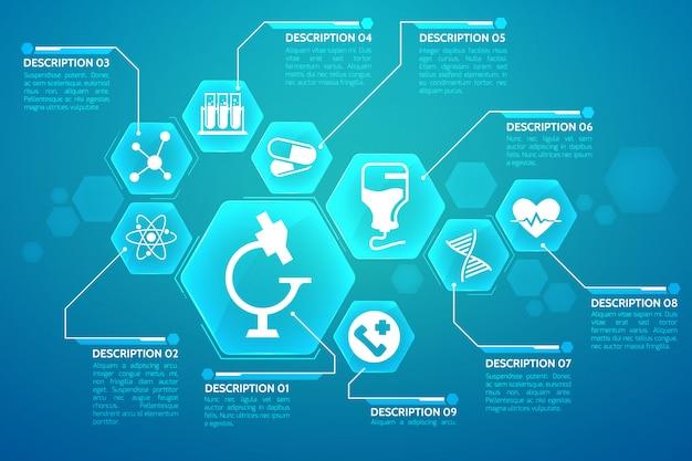 Medyczny Niebieski Plakat Z Płaską Ilustracją Symboli Leczenia I Nauki Darmowych Wektorów