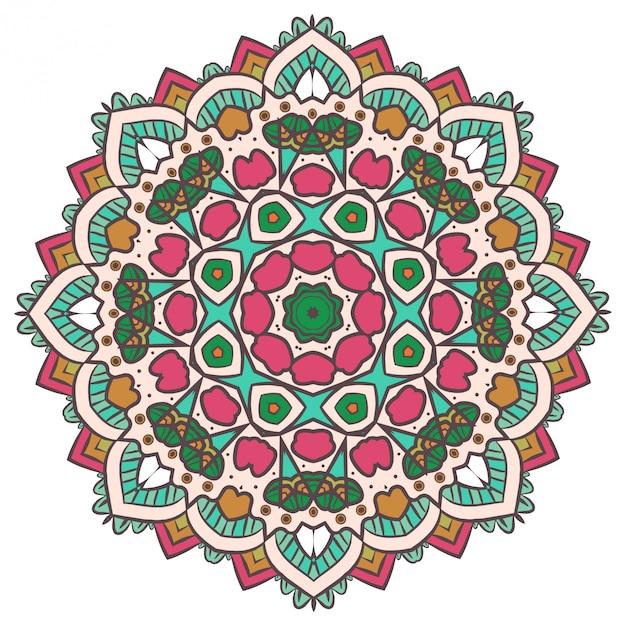 Medytacja etniczna fractal mandala vector wygląda jak snowflake lub maya aztec Premium Wektorów