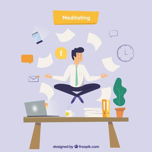 Medytacja Koncepcja Z Biznesmenem Darmowych Wektorów