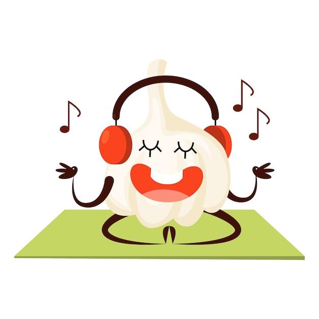 Medytując Czosnek I Słuchając Muzyki Na Siłowni. Owoc Z Buzią, Wesoły Charakter. Zabawny Czosnek. Ilustracja Premium Wektorów