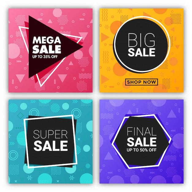 Mega sprzedaż kwadratowy baner w stylu memphis z zestawem geometryczny wzór Premium Wektorów