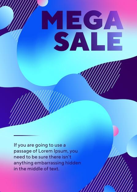 Mega Sprzedaż Napis Plakat Z Abstrakcyjnymi Neonowymi Kształtami Darmowych Wektorów