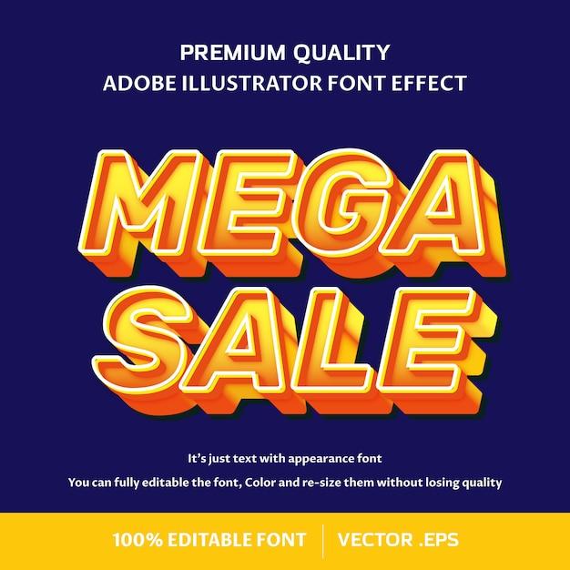 Mega wyprzedaż 3d efekt czcionki edytowalnej Premium Wektorów