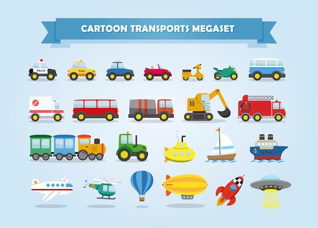 Mega Zestaw Samochodów, Pojazdów I Innych środków Transportu. Zabawny Styl Kreskówek Dla Dzieci. Premium Wektorów