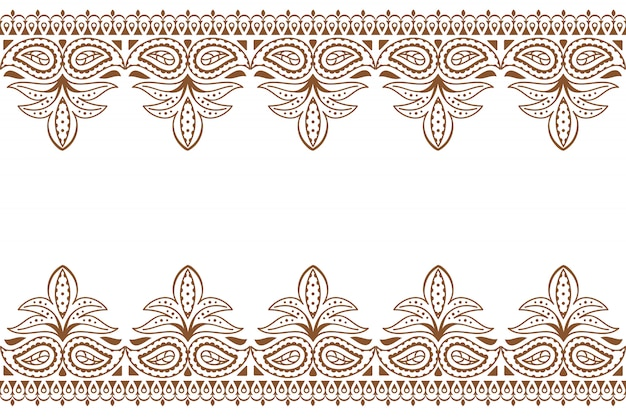 Mehndi indyjski haft wuth henna ornament. Premium Wektorów