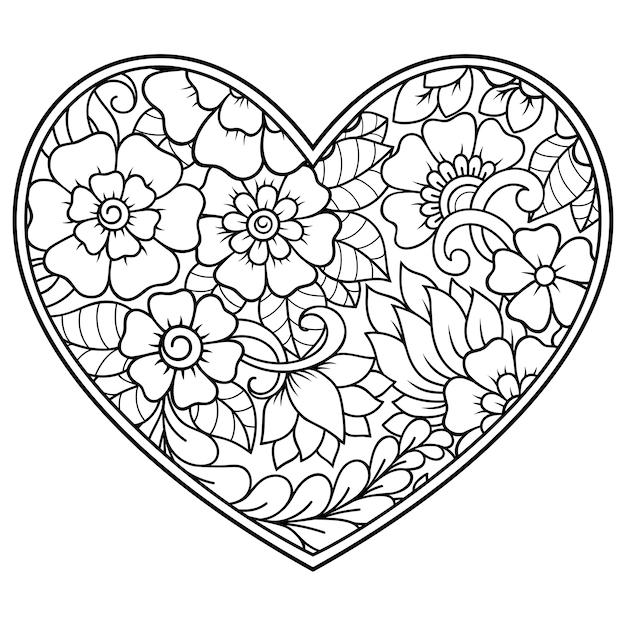 Mehndi Kwiatki W Formie Serca. Dekoracja W Etnicznym Orientalnym, Indyjskim Stylu. Książka Do Kolorowania. Premium Wektorów