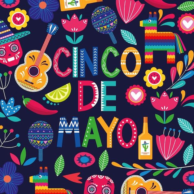 Meksyk Cinco De Mayo Karty Premium Wektorów