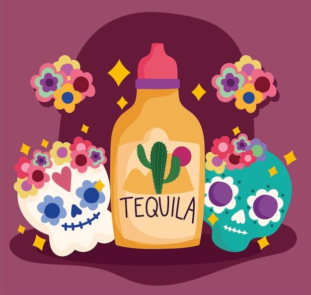 Meksyk Dzień Zmarłych Czaszki Tequili Kwiaty Dekoracja Kultura Tradycyjna Ilustracja Premium Wektorów