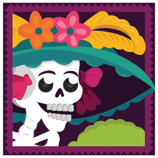 Meksykańska Catrina Ilustracja Premium Wektorów