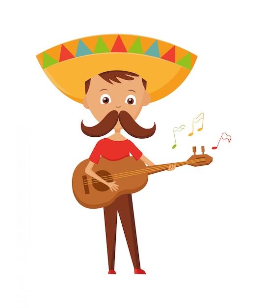 Meksykańska chłopiec z wąsem i sombrero bawić się gitarę, meksykański kartka z pozdrowieniami wakacje, wektorowa ilustracja. Premium Wektorów