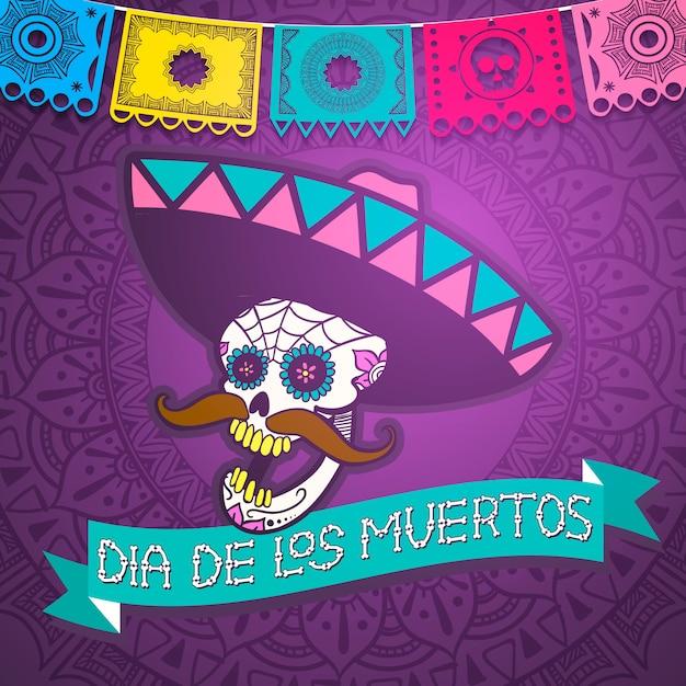 Meksykańska Cukrowa Czaszka, Dzień Zmarłych Ilustracji Premium Wektorów