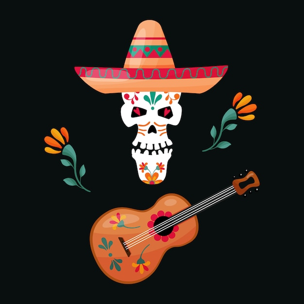 Meksykańska cukrowa czaszka z gitarą i kapeluszem Premium Wektorów