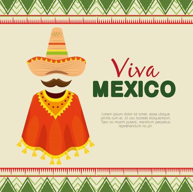Meksykańska czapka z poncho i wąsami na wydarzenie Darmowych Wektorów