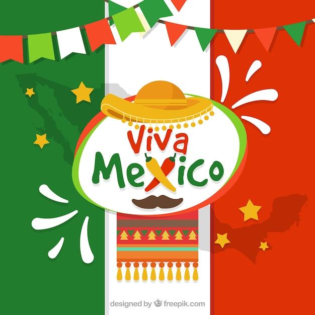 Meksykańska flaga tło Darmowych Wektorów