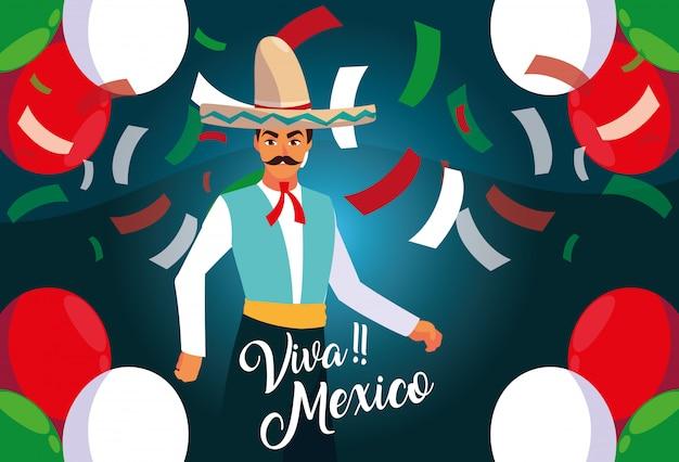Meksykańska metka viva z mężczyzną w typowym meksykańskim stroju Premium Wektorów