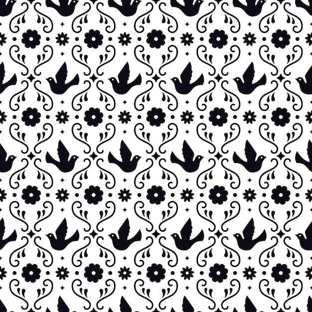 Meksykańska Sztuka Ludowa Wzór Z Kwiatów, Liści I Ptaków Na Białym Tle. Tradycyjny Design Na Imprezę Fiesta. Kwiatowe Elementy Ozdobne Z Meksyku. Ornament Meksykański Folklor. Premium Wektorów