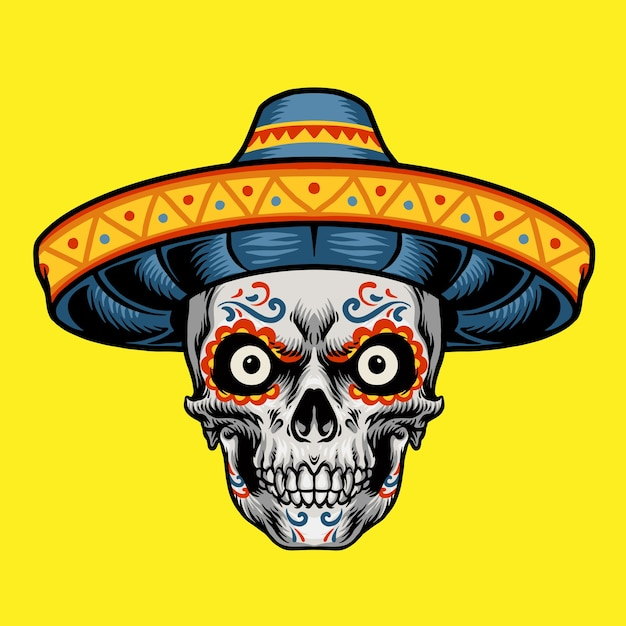 Meksykański Charakter Głowy Czaszki Premium Wektorów