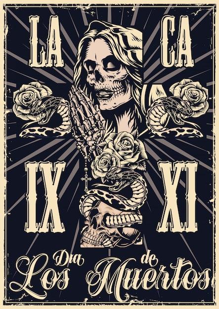 Meksykański Dzień Zmarłych Monochromatyczne Plakat Premium Wektorów