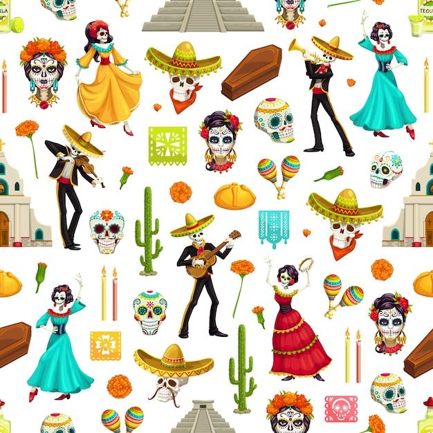 Meksykański Dzień Zmarłych Wzór Czaszek Cukrowych, Sombrera I Gitar Z Dia De Los Muertos, Catrina, Kwiaty Nagietka I Kaktusy, świece, Chleb, Kościoły I Piramidy Premium Wektorów