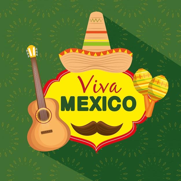Meksykański kapelusz z gitarą i marakasami z okazji imprezy Darmowych Wektorów