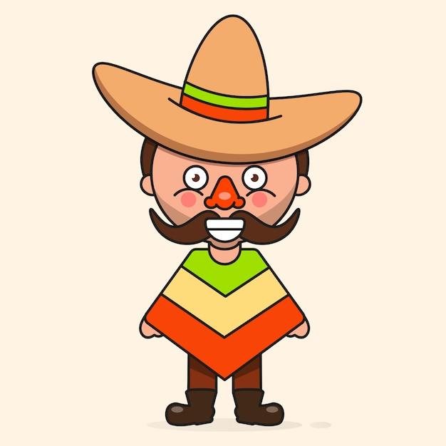 Meksykański Kreskówka Mężczyzna Premium Wektorów