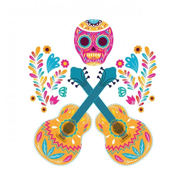 Meksykański projekt czaszki i gitar, meksyk kultury turystyka punkt zwrotny łacina i przyjęcie tematu wektoru ilustracja Premium Wektorów