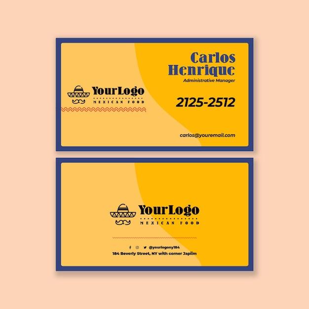 Meksykańskie Jedzenie Szablon Poziomy Wizytówki Premium Wektorów