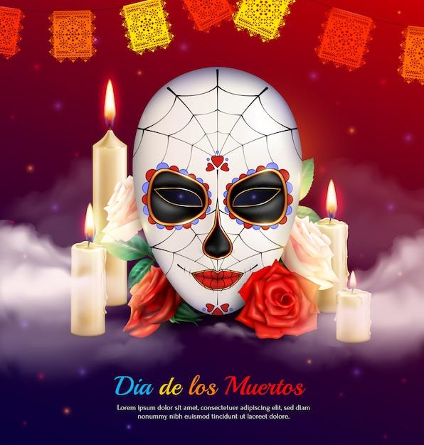 Meksykańskie święto Martwej Realistycznej Kompozycji Ze Strasznymi Maskami świec I Róż Darmowych Wektorów